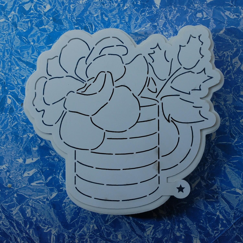 "Форма для пряника ""Цветы в кружке"" 12 х 12 см с трафаретом"