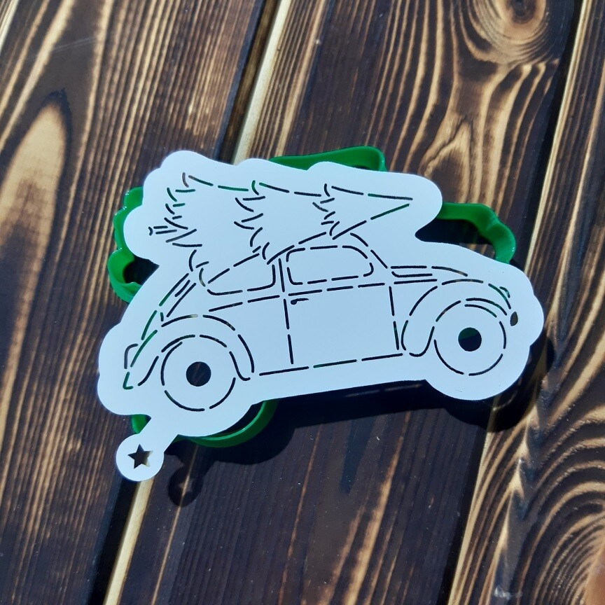 Машина с елкой 11х7 см с трафаретом