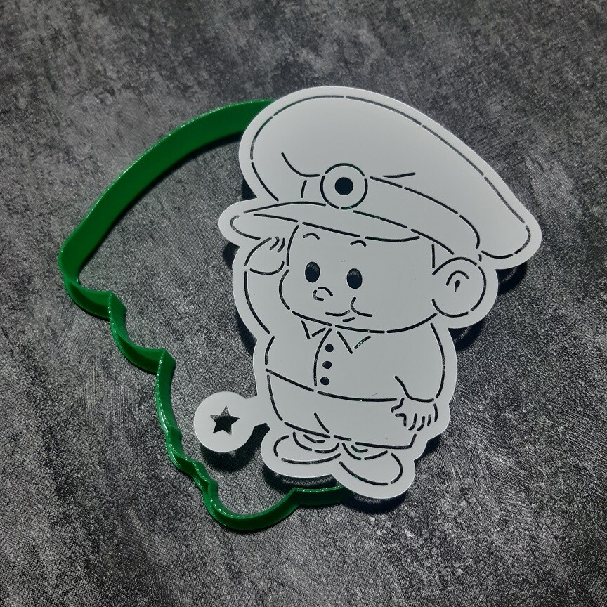 "Форма для пряника ""Военный №1"" (8,5х11 см) с трафаретом"