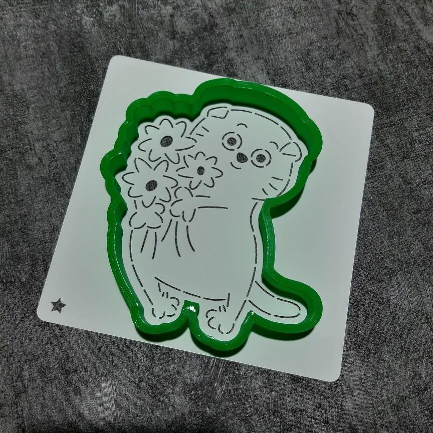 "Форма для пряника ""Кот с букетом №1"" (10,5 х 12 см) с трафаретом"