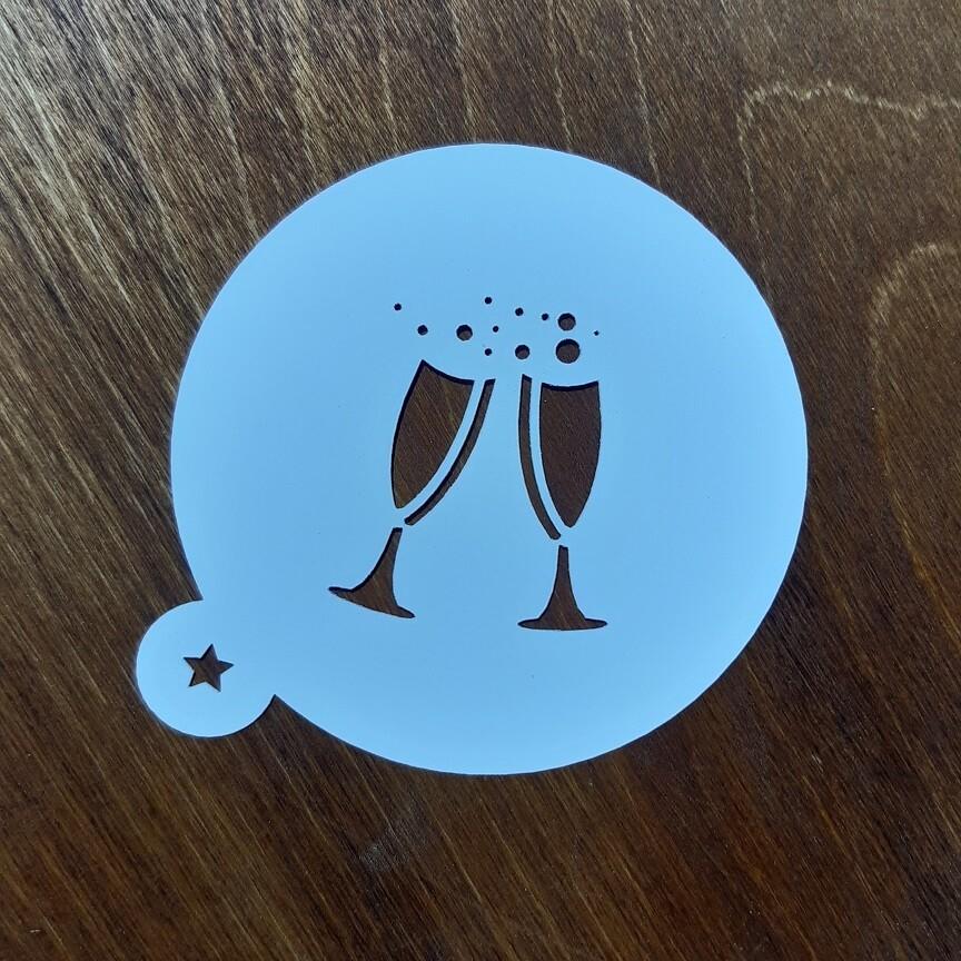 Трафарет для пряников Бокалы с шампанским 9 см