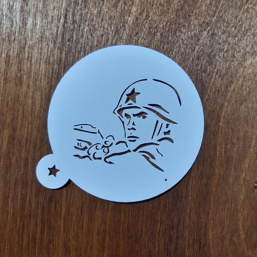 """Трафарет для пряников """"Солдат №3"""" (9 см)"""