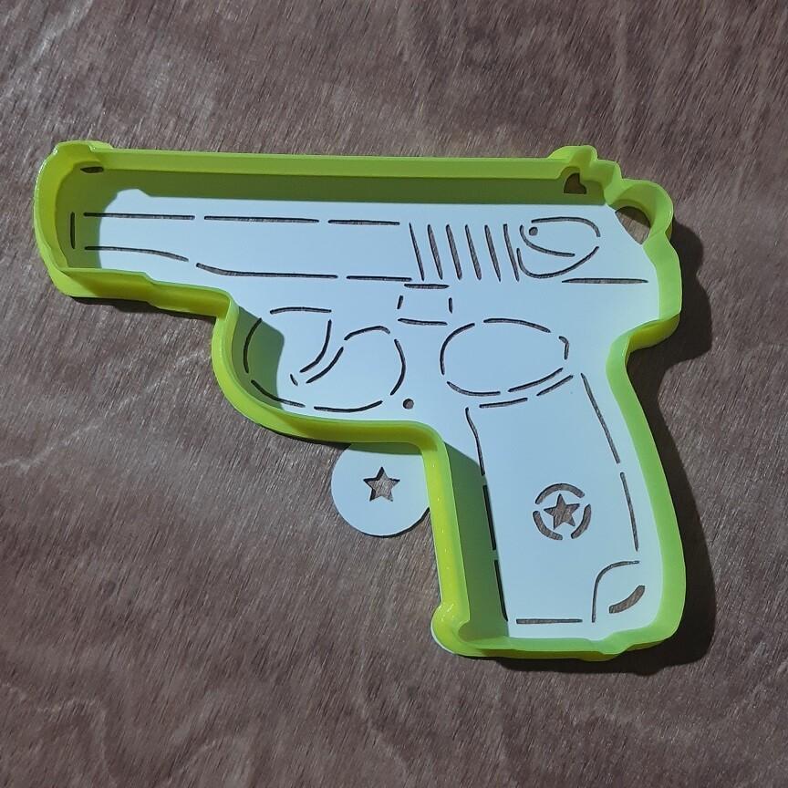 """Форма для пряника """"Пистолет Макарова"""" 12х9 см с трафаретом"""