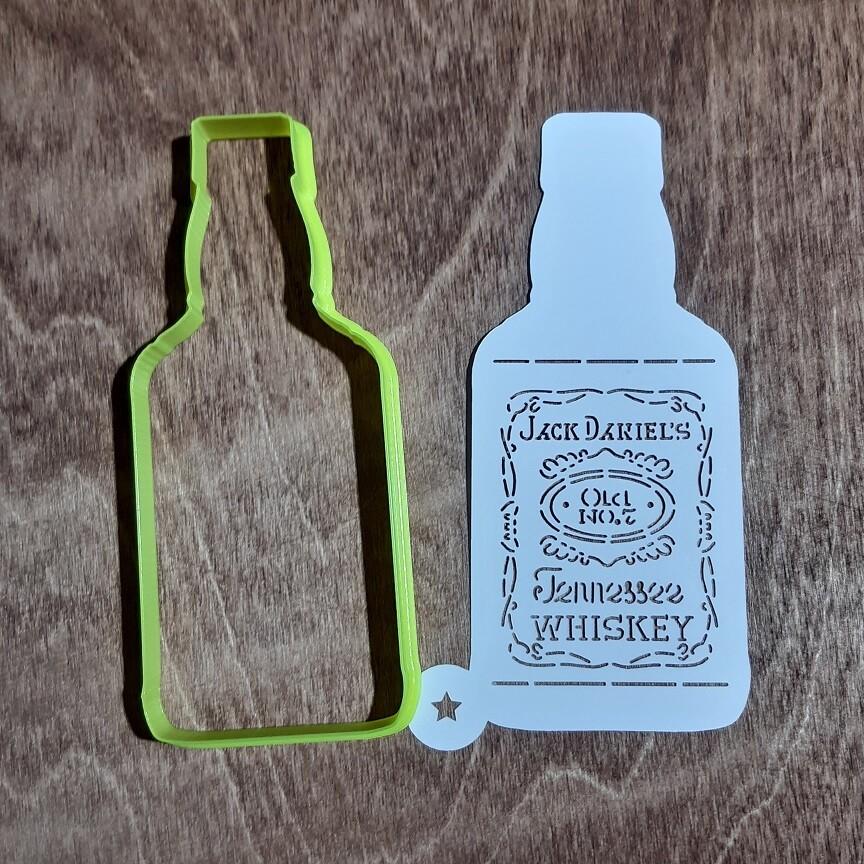 """Форма для пряника """"Бутылка Виски"""" 8х14 см с трафаретом"""