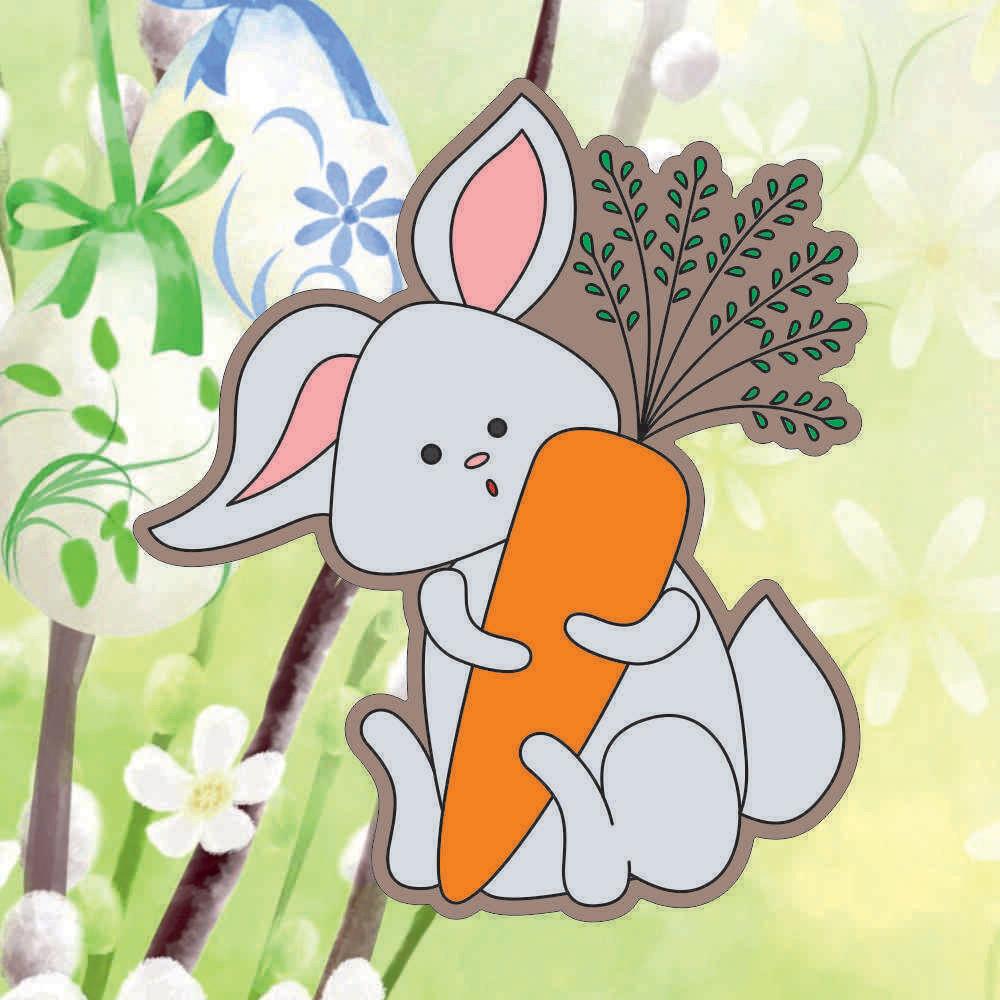 "Форма для пряника ""Зайчик с морковкой №1"" (11,5 х 13 см) с трафаретом"