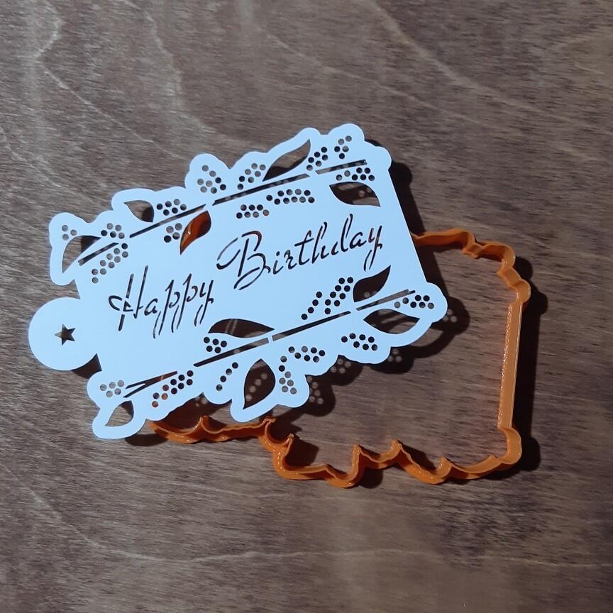"Форма для пряника ""Рамка с цветами"" №2 (12х9 см) с трафаретом Happy Birthday"