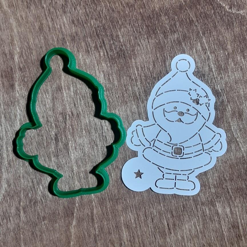 """Форма для пряника """"Санта №3"""" (7 х 10 см) с трафаретом"""