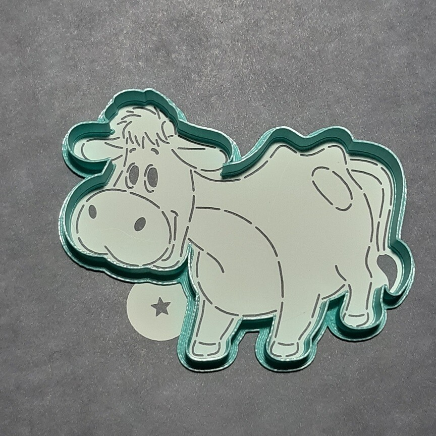 """Форма для пряника """"Корова №7"""" (12х11 см) с трафаретом"""