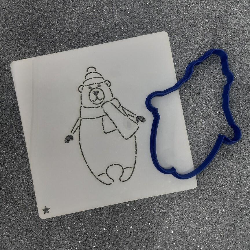 """Форма для пряника """"Медведь №6"""" (8 х 11 см) с трафаретом"""