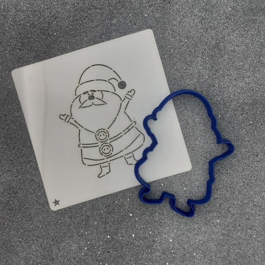 """Форма для пряника """"Санта №4"""" (8 х 11 см) с трафаретом"""
