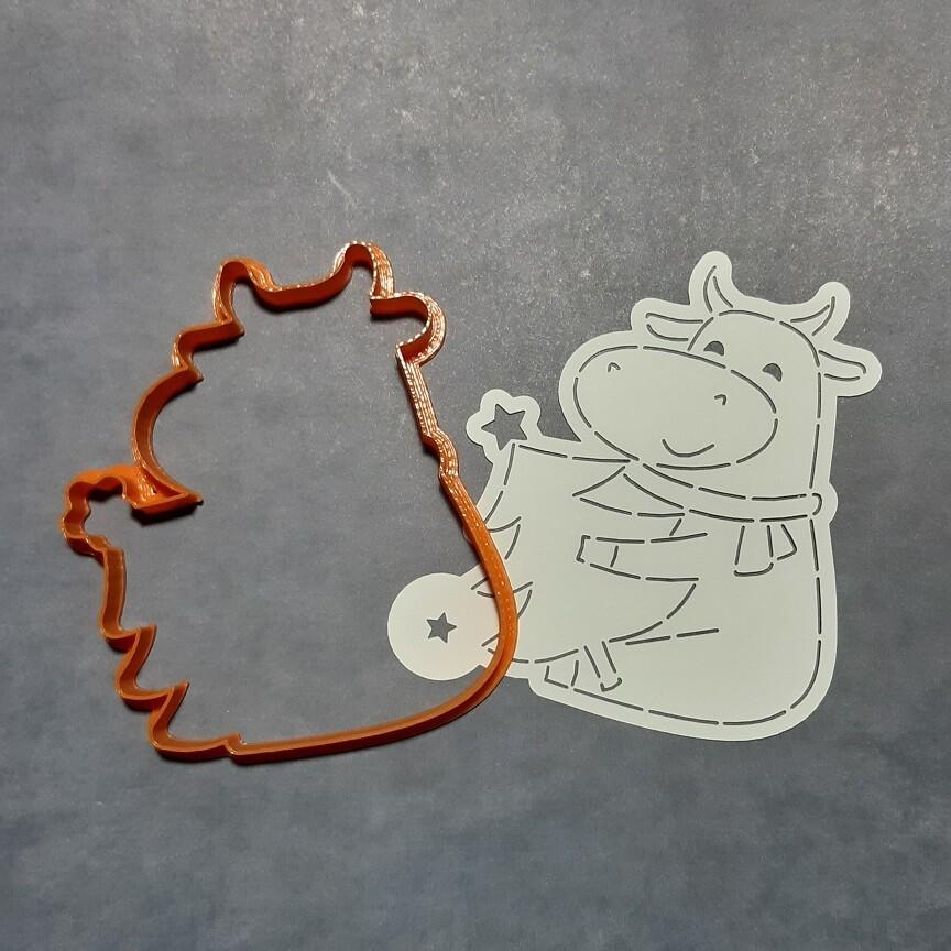 """Форма для пряника """"Корова №8"""" (9,5 х 11 см) с трафаретом"""