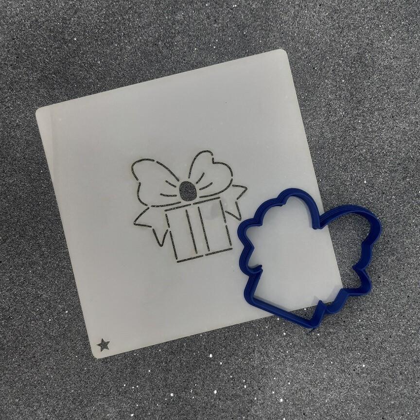 """Форма для пряника """"Подарок №2"""" (7 х 6,5 см) с трафаретом"""