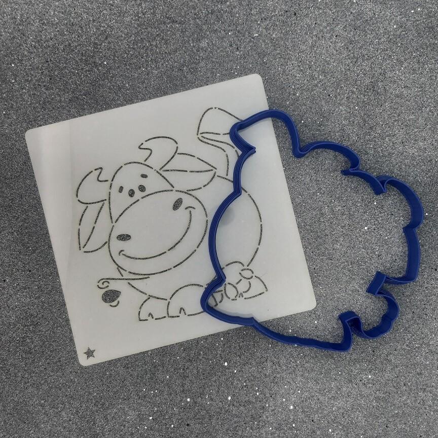 """Форма для пряника """"Корова №12"""" (11,5 х 12 см) с трафаретом"""
