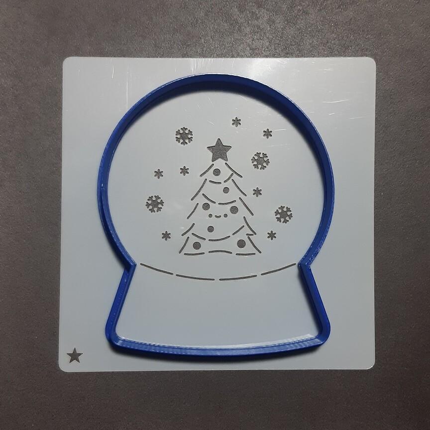 "Форма для пряника ""Снежный шар №1"" (10 х 12 см) с трафаретом"