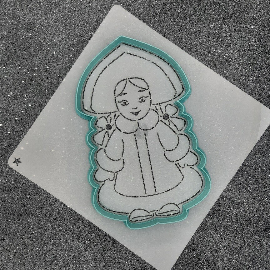 "Форма для пряника ""Снегурочка №4"" (9 х 15 см) с трафаретом"