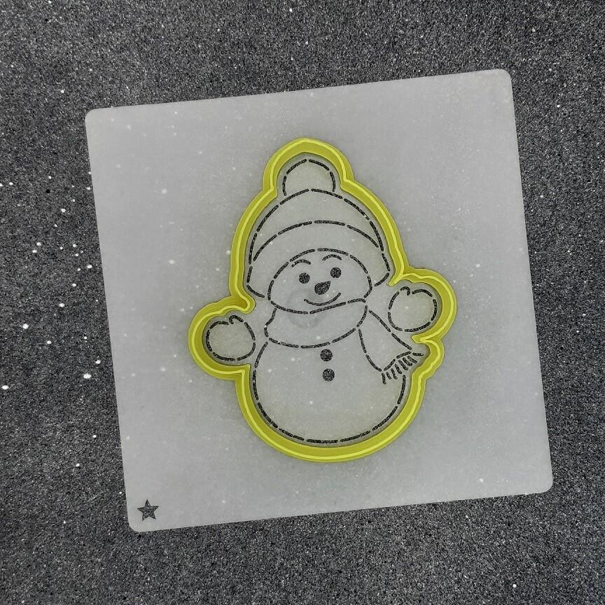 """Форма для пряника """"Снеговик №1"""" (8 х 10 см) с трафаретом"""