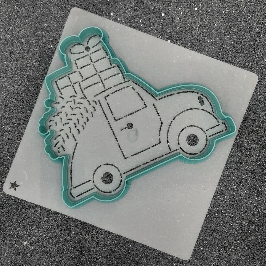 "Форма для пряника ""Машина с елкой №5"" (12,5 х 11 см) с трафаретом"