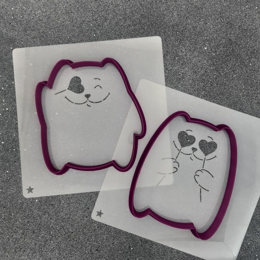 """Набор форм для пряников """"Коты №2"""" (9 х 10 см) с трафаретами"""