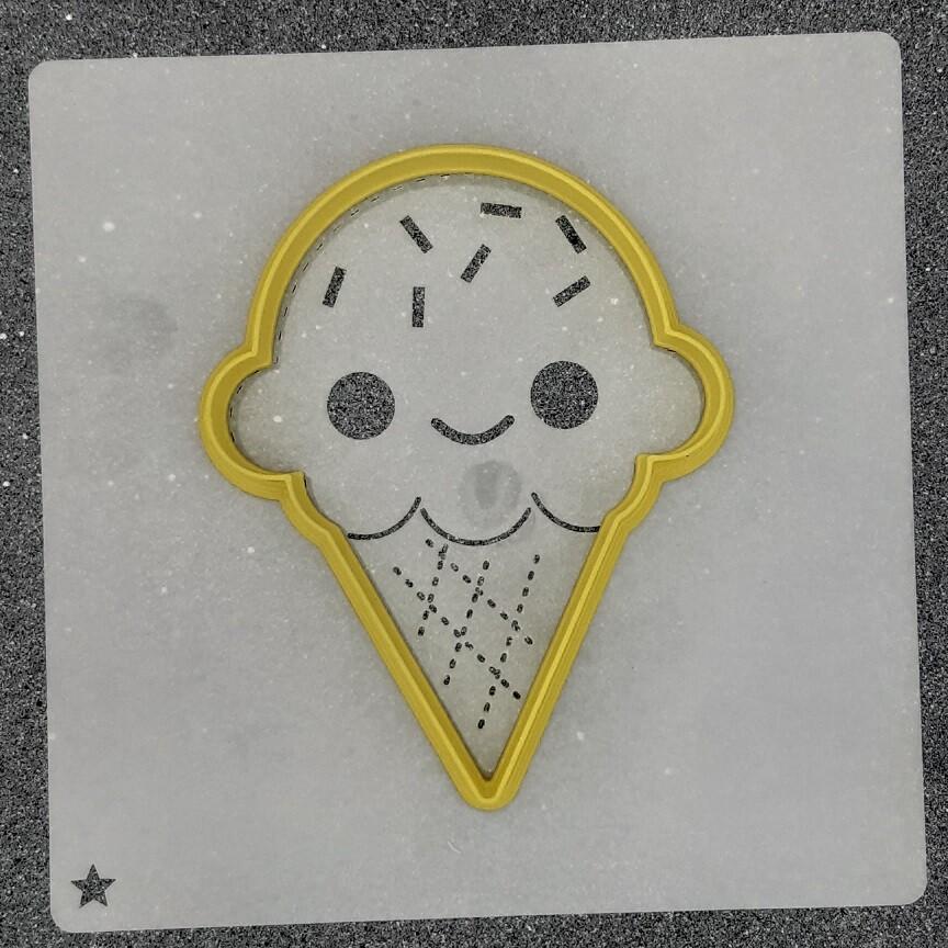 """Форма для пряников """"Рожок мороженого №3"""" (8 х 10 см) с трафаретом"""