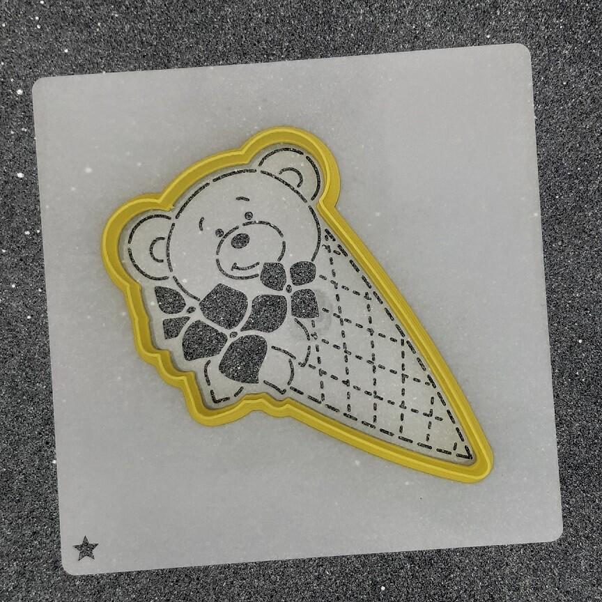 "Форма для пряников ""Рожок - медвежок"" (7,5 х 12 см) с трафаретом"