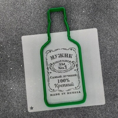 "Форма для пряника ""Джек - мужик"" (7 х 17 см) с трафаретом"