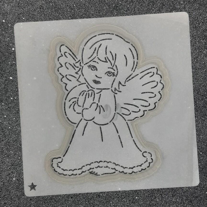 """Форма для пряника """"Ангелок №5"""" (10 х 12 см) с трафаретом"""