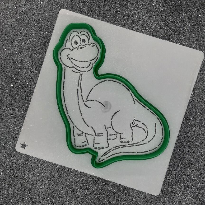 """Форма для пряника """"Динозавр №10"""" (9 х 13 см) с трафаретом"""