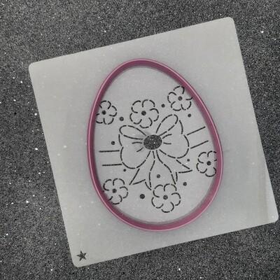"""Форма для пряника """"Яйцо №9"""" (8,5 х 11 см) с трафаретом №3"""