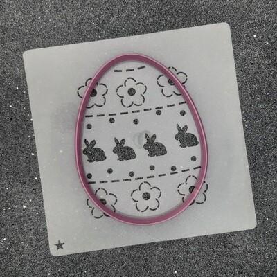 """Форма для пряника """"Яйцо №9"""" (8,5 х 11 см) с трафаретом №1"""