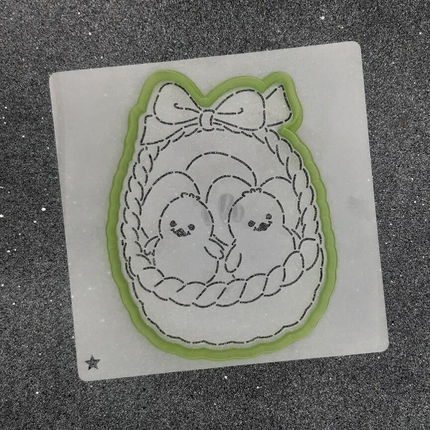 """Форма для пряника """"Цыплята в корзинке"""" №1 (9,5 х 12,5 см) с трафаретом"""