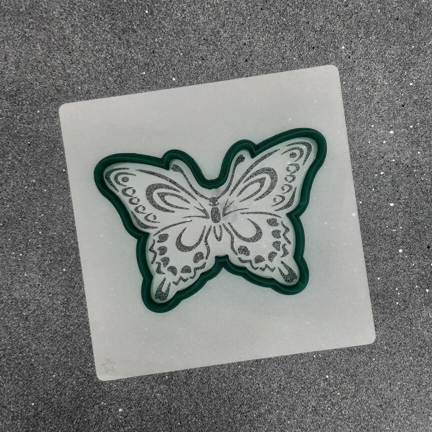 "Форма для пряников ""Бабочка №6"" (11 х 7,5 см) с трафаретом"