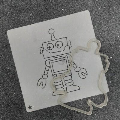 """Форма для пряников """"Робот №1"""" (9 х 11,5 см) с трафаретом"""