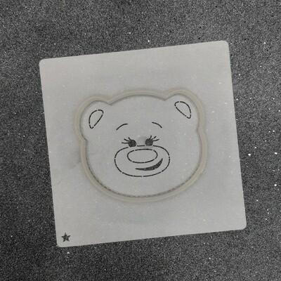 """Форма для пряников """"Медведь №8"""" (9 х 8 см) с трафаретом"""
