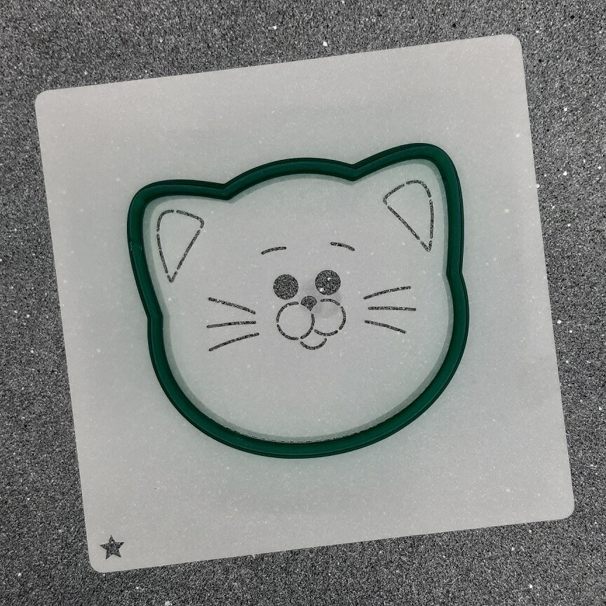 "Форма для пряников ""Кот №5"" (9 х 8 см) с трафаретом"