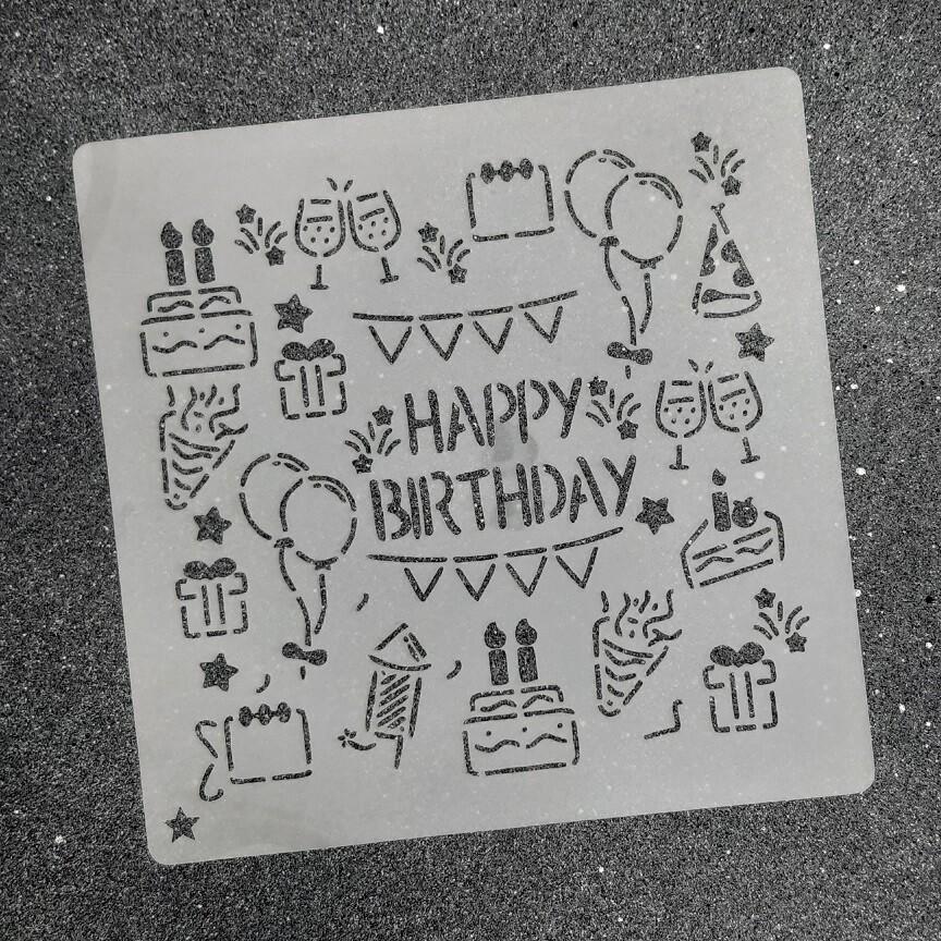 """Трафарет для пряников """"Happy Birthday №1"""""""