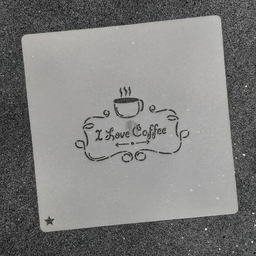 """Трафарет для пряников """"I Love Coffee №1"""" (8,5 х 5 см)"""