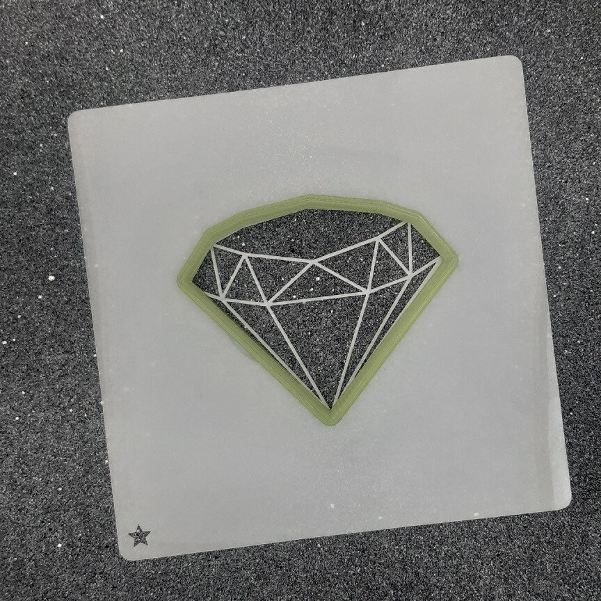 "Форма для пряников ""Алмазик №2"" (8 х 6,5 см) с трафаретом"