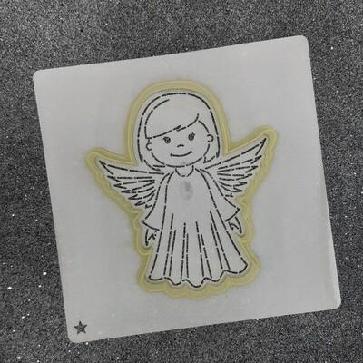 """Форма для пряника """"Ангелок №4"""" (9 х 10,5 см) с трафаретом"""