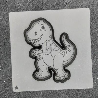"""Форма для пряника """"Динозавр №6"""" (8,5 х 11 см) с трафаретом"""