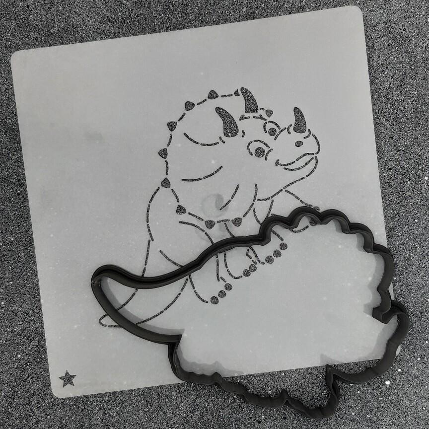 """Форма для пряника """"Динозавр №7"""" (12 х 7,5 см) с трафаретом"""