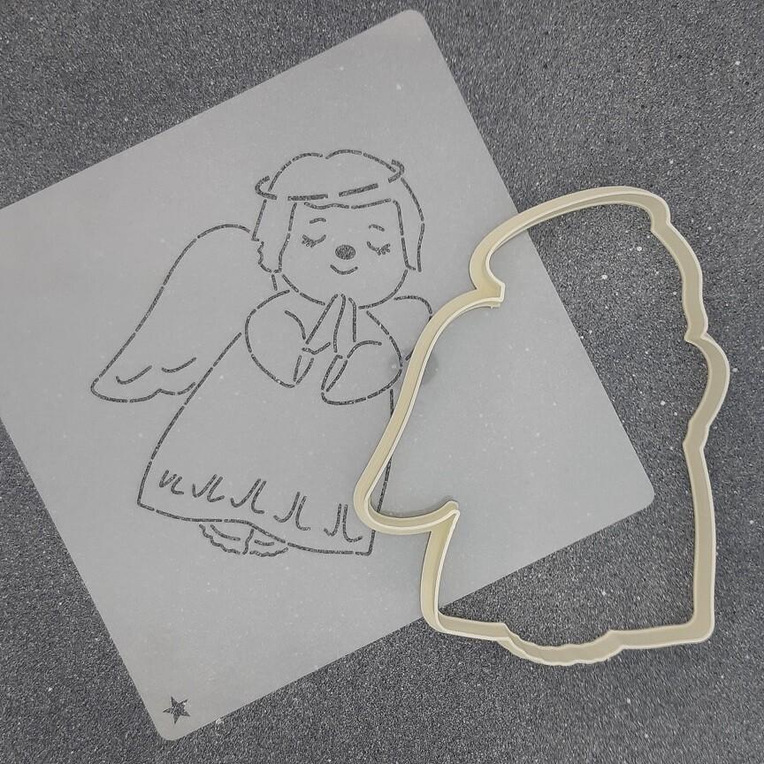 """Форма для пряника """"Ангелок №9"""" (8,5 х 11,5 см) с трафаретом"""