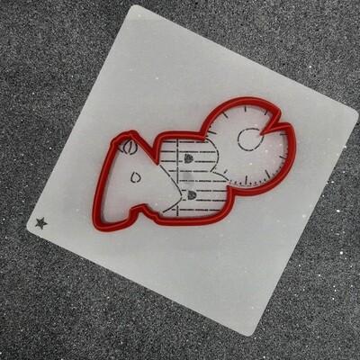 """Форма для пряника """"ABC №1"""" (11,5 х 5,5 см) с трафаретом"""
