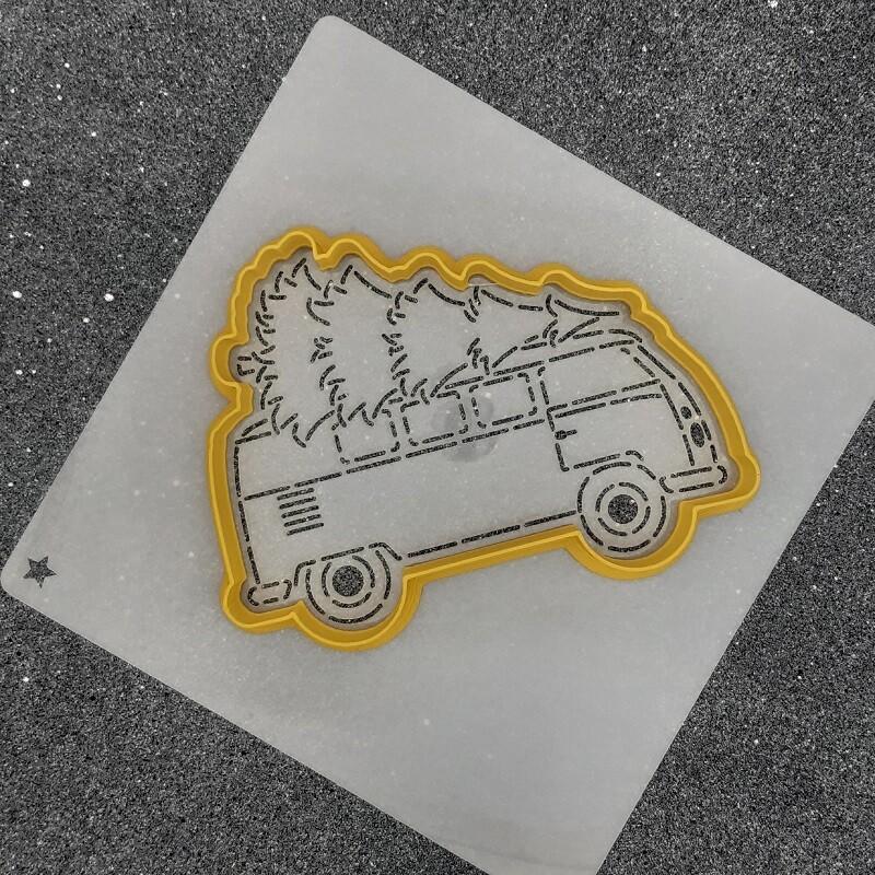 "Форма для пряника ""Машина с елкой №2"" (11 х 8 см) с трафаретом"