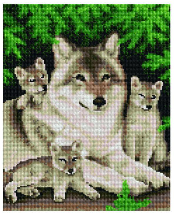 """Алмазная мозаика Paintboy Original""""Счастливая волчица"""" 30х40"""