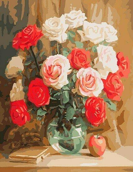 Картина по номерам 40х50 - Розы и яблоко