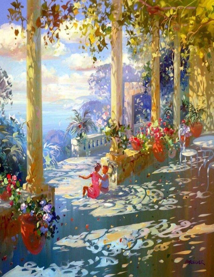 Картина по номерам 40х50 - Цветочная веранда