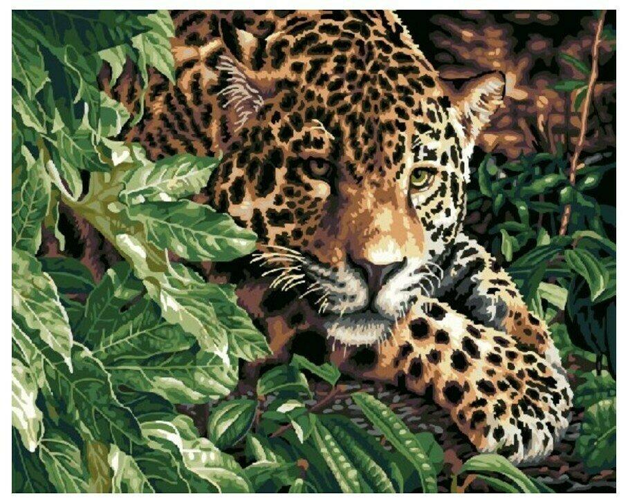 Картина по номерам GX 6833 Леопард в кустах 40*50