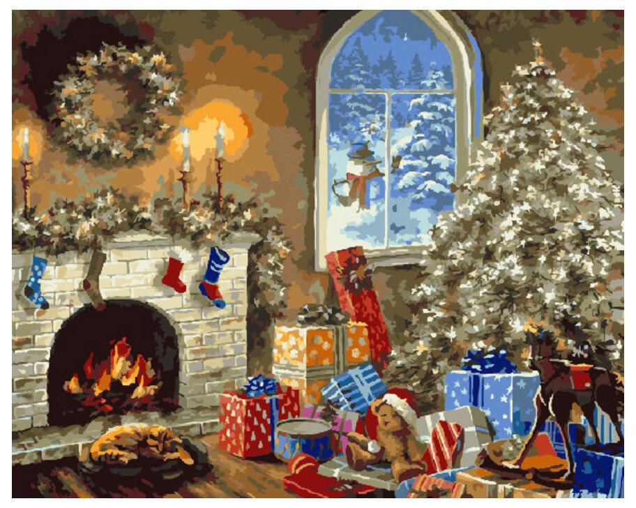 Картина по номерам GX 7431 Домашний очаг на Рождество 40*50