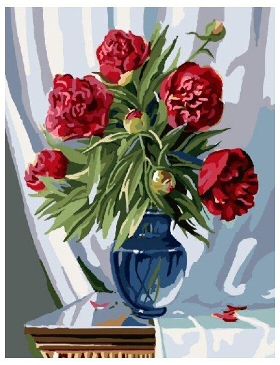 Картина по номерам GX 7839 Пионы в голубой вазе 40*50