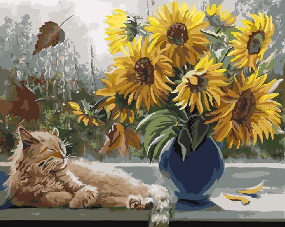 Картина по номерам GX 8065 Осенью на подоконнике 40*50